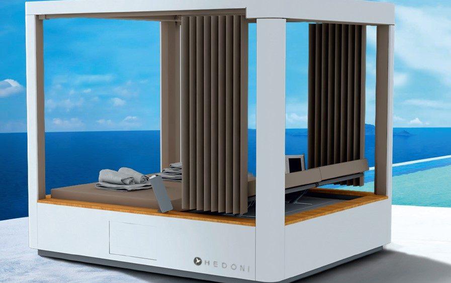Bain de soleil haut de gamme et luxe e-Zen par Hedoni design.